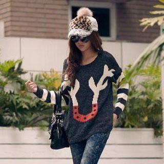 PUFII - Deer-Horn Print Sweater