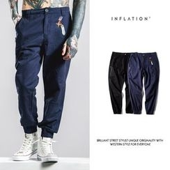 Newin - Elastic Cuff Embroidered Straight-Cut Pants