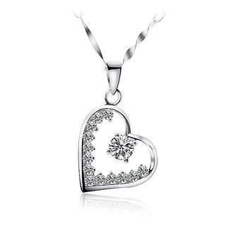 BELEC - White Gold Plated 925 Sterling Silver Heart-shaped Pendant with White Cubic Zirconia and 45cm Necklace