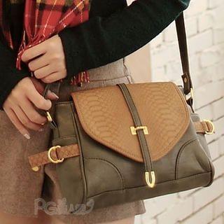 PG Beauty - Faux Snakeskin Flap Cross Bag