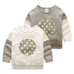 Seashells Kids - Kids Polka Dot Applique Two-Tone Long-Sleeve T-Shirt