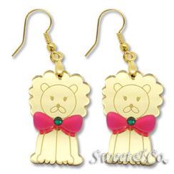 Sweet & Co. - Bowtie Lion Swarovski Mirror Gold Earrings