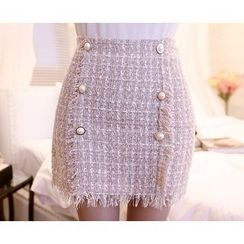 Marlangrouge - Faux-Pearl Button Tweed Mini Skirt
