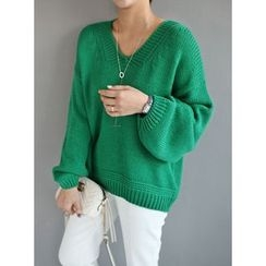 STYLEBYYAM - V-Neck Balloon-Sleeve Knit Top