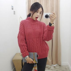 Seoul Fashion - Mock-Neck Cable-Knit Sweater