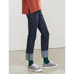 FROMBEGINNING - Cuff-Hem Straight-Cut Jeans