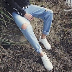Arthur Look - Distressed Tapered Jeans
