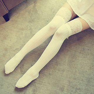 Dream Girl - Lace-Trim Thigh-High Socks