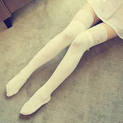 Dream Girl - Lace-Trim Thigh-High Socks