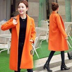 Romantica - Wool Blend Notched-Lapel Applique Coat