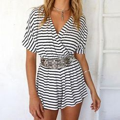 Dream a Dream - Short-Sleeve V-Neck Striped Playsuit