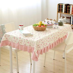 Lazy Corner - Gingham-Trim Floral Table Cloth