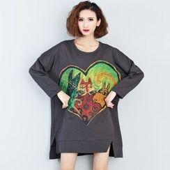 Carabecca - Heart Print Long Sleeve T-Shirt Dress