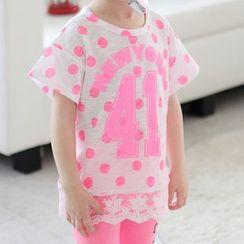 Kidora - 儿童圆点数字蕾丝拼接短袖上衣