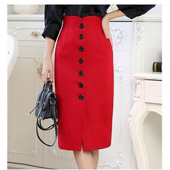 LITI - Button Slit Midi Skirt