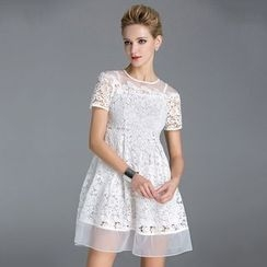 KAKO KARA - Lace Short-Sleeve A-Line Dress