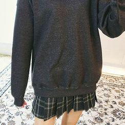 chuu - Plaid Wool Blend Mini Pleat Skirt