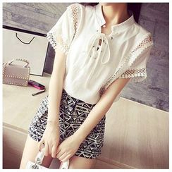 QZ Lady - Short-Sleeve Lace Panel Chiffon Top