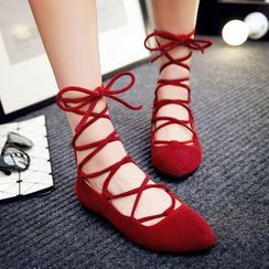 JY Shoes - Lace Up Flats
