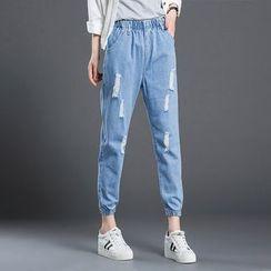 KAKAGA - Distressed Gather-Cuff Jeans