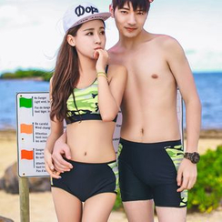 Vicki Vicki - Camouflage Print Rash Guard / Bikini Top / Couple Matching Swim Shorts