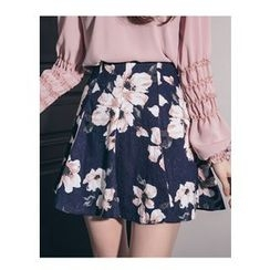 Chlo.D.Manon - Floral Pattern Mini Flare Skirt