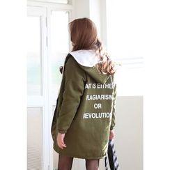 Dalkong - Hooded Lettering Fleece-Lined Jacket