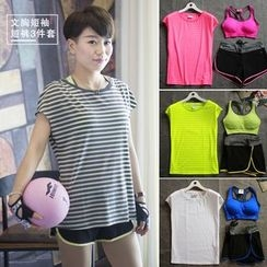 GYM QUEEN - Set: Sports Bra + Quick Dry T-Shirt + Shorts