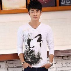 SOLER - 印花V领长袖T恤