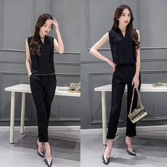 Sienne - Set: Sleeveless Wrapped Blouse + Slim Fit Pants