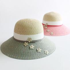 EVEN - Floral Color Block Straw Hat