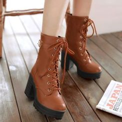 TALLY - Lace-Up Chunky Heel Platform Short Boots