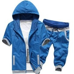 Bay Go Mall - Set : Hooded Short-Sleeve Jacket + Shorts