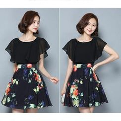 EFO - Mock Two Piece Short-Sleeve Printed Dress