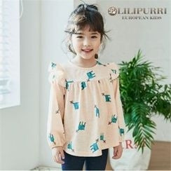 LILIPURRI - Girls Cat Print Frill-Trim Top