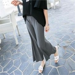 PIPPIN - Band-Waist Pleated Wide-Leg Pants