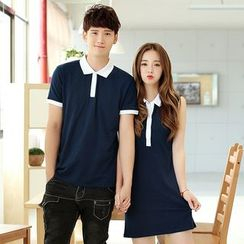 Azure - Couple Matching Polo Shirt / Sleeveless Polo Dress
