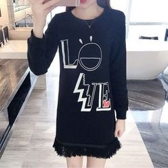 Cherry Dress - Fringe Hem Lettering Long-Sleeve Dress