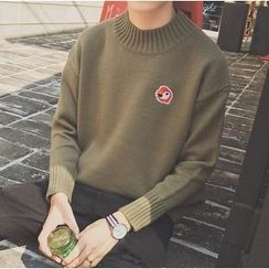 Bestrooy - Embroidered Mock Neck Sweater