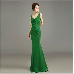 Posh Bride - Sleeveless Shirred Sheath Evening Gown