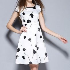 Merald - Print Cap Sleeve A-Line Dress