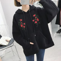Moon City - Flower Embroidered Hoodie