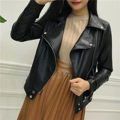 Octavia - Faux Leather Biker Jacket