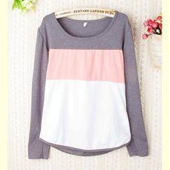 Ringnor - Long-Sleeve Color-Block T-Shirt