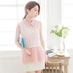 Tokyo Fashion - Lace-Panel Chiffon Sleeveless Blouse