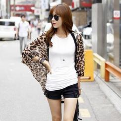 REDOPIN - Leopard Print 3/4-Sleeve Jacket