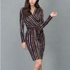Aurora - Long-Sleeve Striped Dress