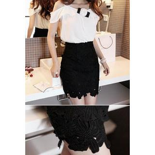 LOVEMARSH - Floral Lace Pencil Skirt