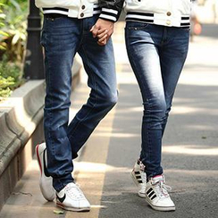 Igsoo - Couple Matching Washed Jeans