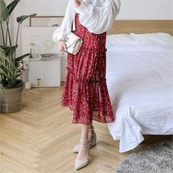 JVLLY - Band-Waist Frilled Floral Long Skirt
